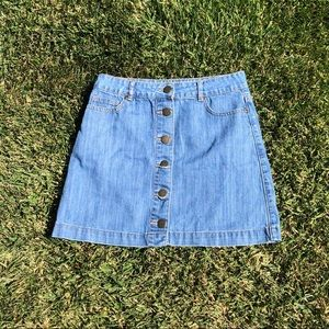 forever 21 button down jean skirt
